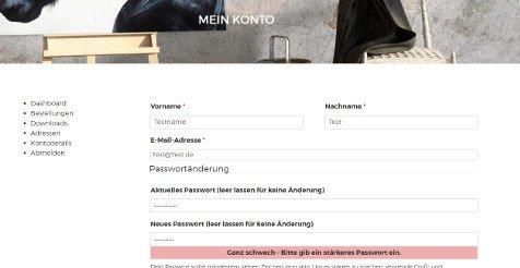 Internetshop mit Kundenkonto