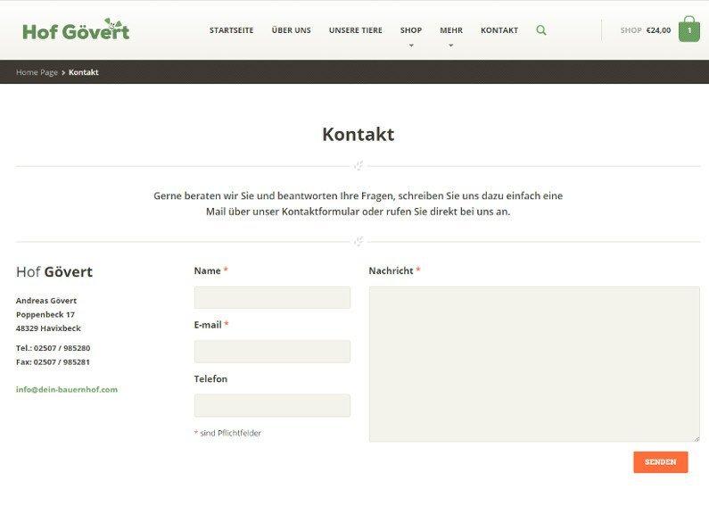 Onlineshop Erstellung Landwirtschaft