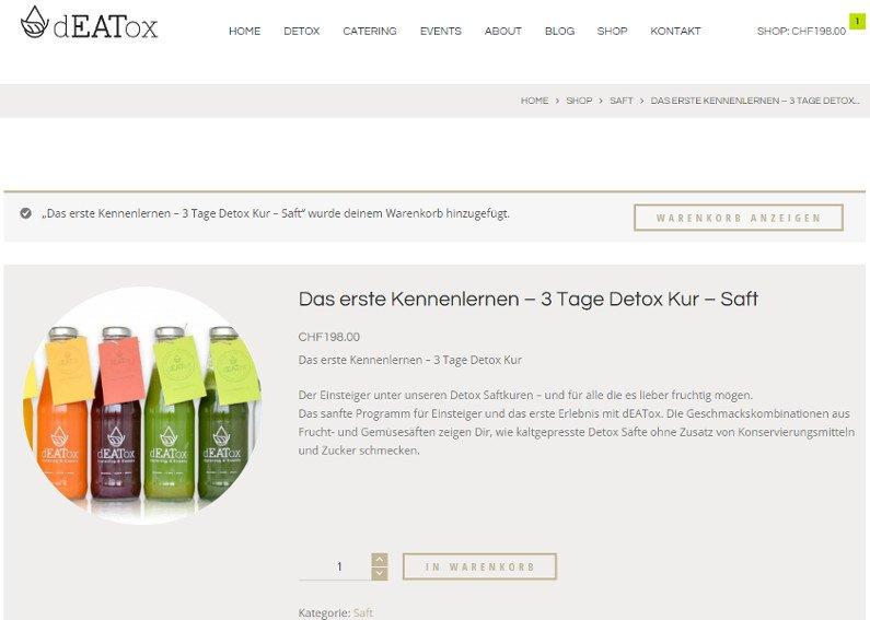 Moderner Onlineshop Deatox