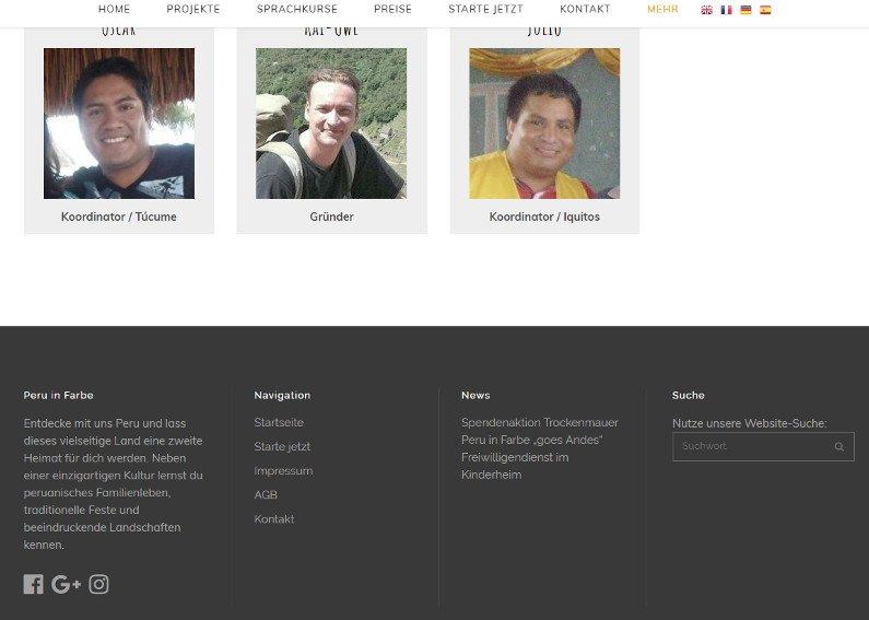 Internetseite Peru Reisen