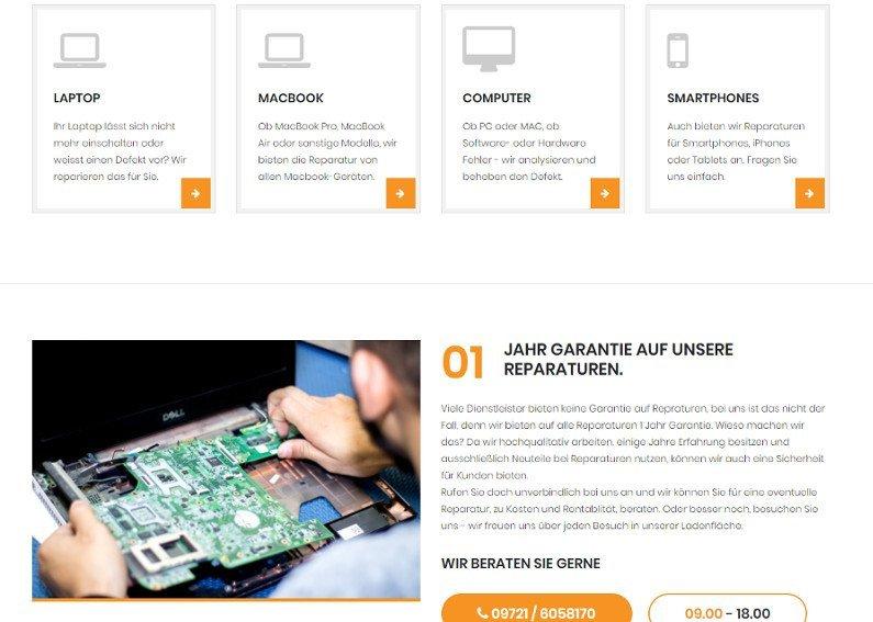Laptop Werkstatt Businessseite
