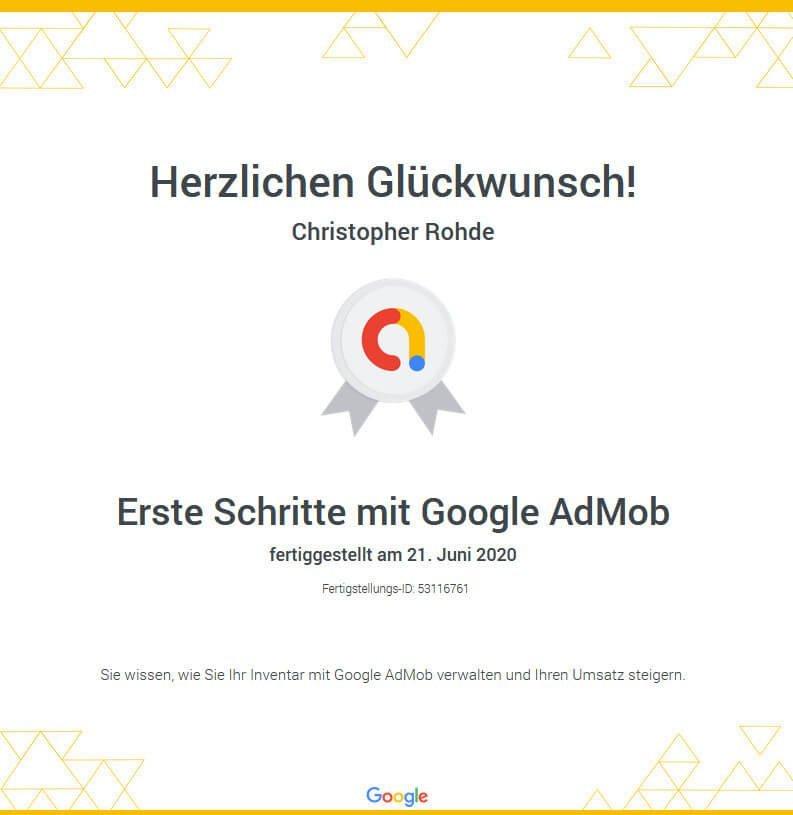Google Admob Zertifizierung