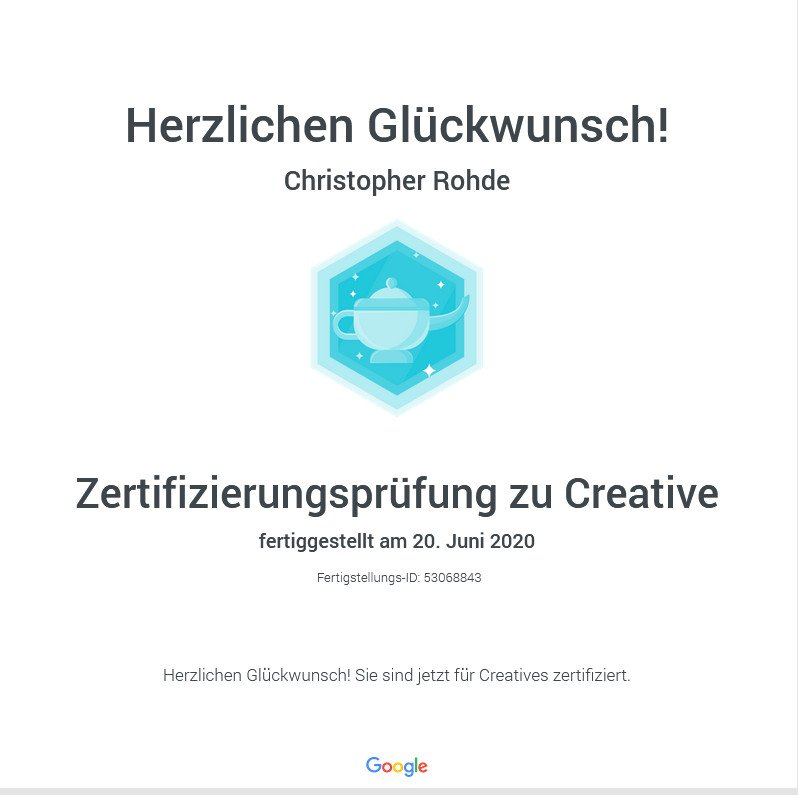 Google Creative Zertifizierung