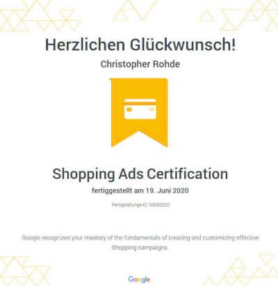 Google Onlineshop Zertifizierung