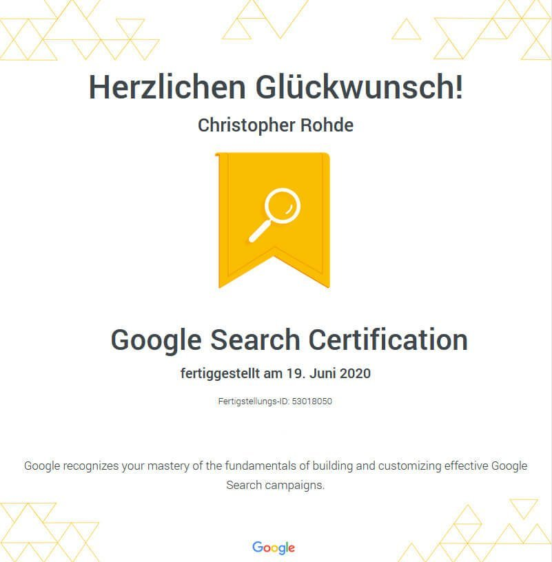 Google Suche Zertifizierung