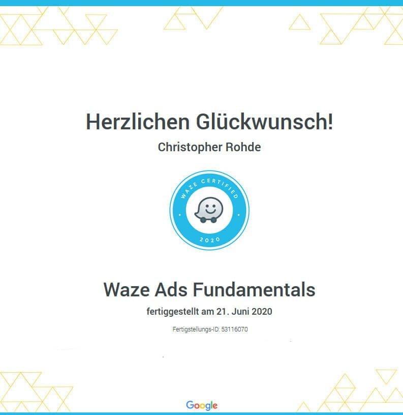 Waze Ad Zertifikat