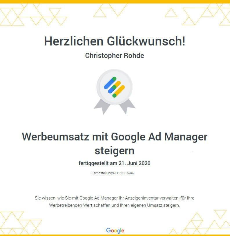 Google Ad-Manager Zertifizierung