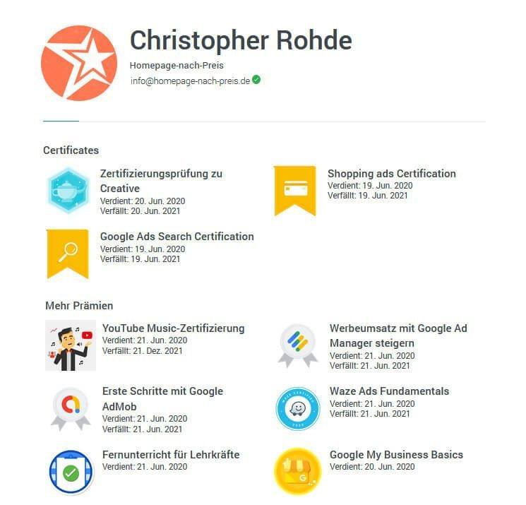 Google Zertifikate