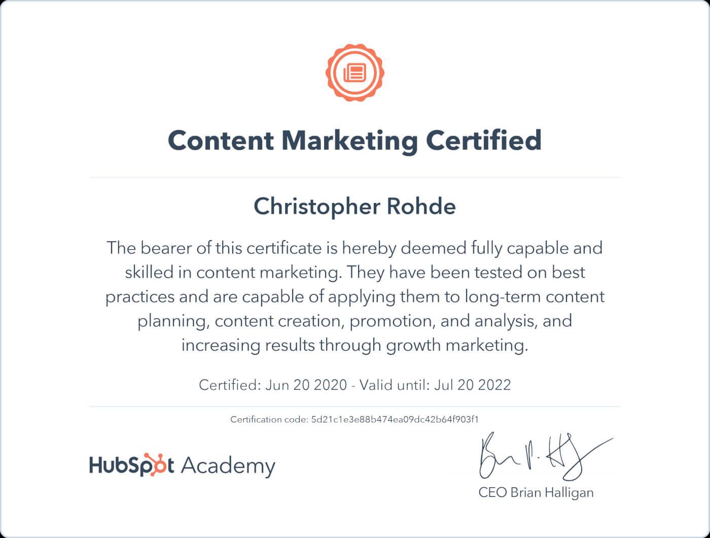 Content Marketing Zertifizierung