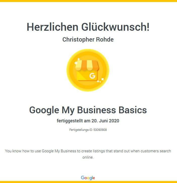 Google-my-Business Zertifizierung
