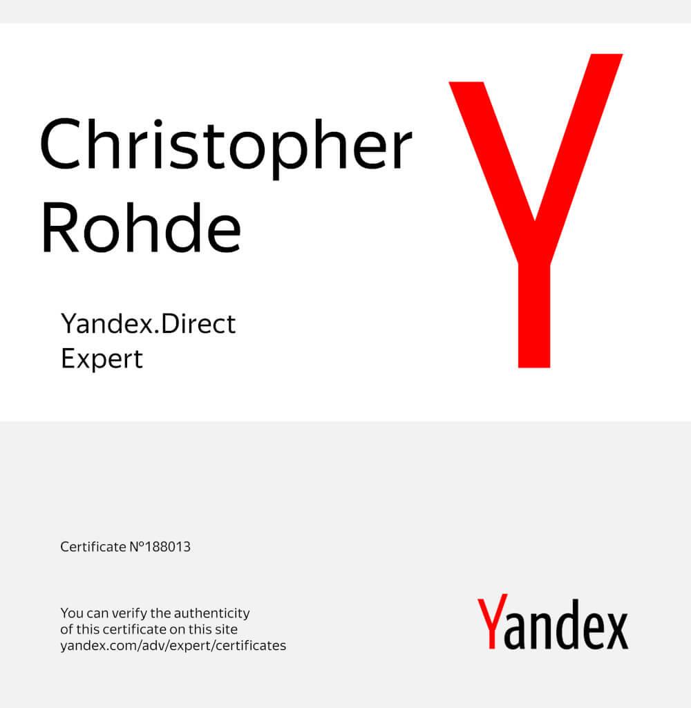 Yandex Direct Zertifizierung