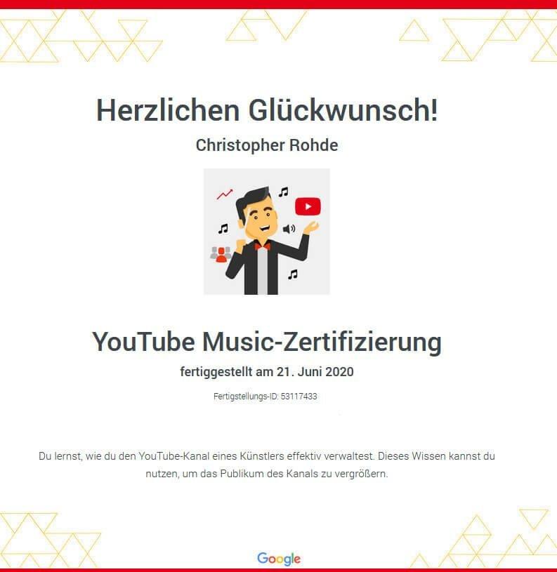 Youtube Music Zertifizierung