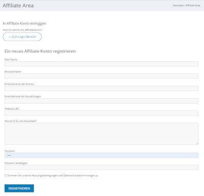Affilate System Registrierung