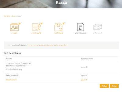 Schritt für Schritt Kasse Onlineshop
