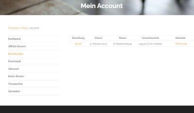 Rechnungssystem Webshop Kundenaccount